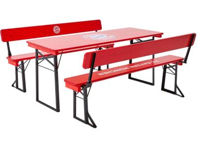 RUKU Bierzeltgarnitur 3-tlg., 180 cm, mit Lehne und 67 cm breitem Tisch, FC Bayern München Edition