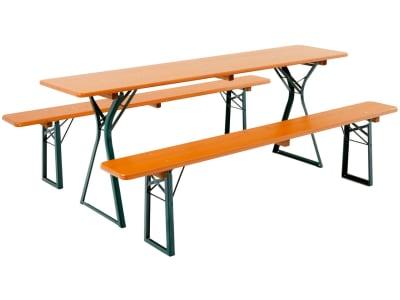 RUKU Bierzeltgarnitur 3-tlg., 220 cm, 50 cm breiter Tisch mit Beinfreiheit
