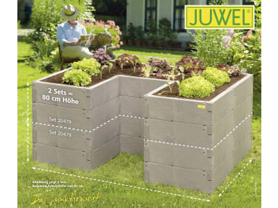 Juwel Hochbeet TIMBER Ergoline Kunststoff mit hochwertiger Holzoptik 185 x 125 x 40 cm