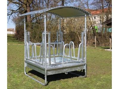 """Kerbl Viereckraufe """"Hobby"""" für Rund- und Rechteckballen bis 1,40 m Länge, 8 Fressplätze, 291300"""