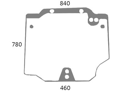 Heckscheibe, grün, Siebdruck, oben, für Traktor Case IH JX, Quantum