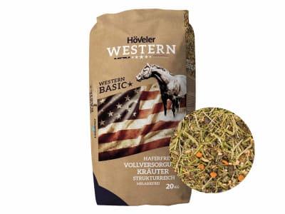 Höveler Western Basic haferfreies, melassefreies, strukturreiches Müsli speziell auf die Bedürfnisse von Westernpferderassen abgestimmt 20 kg Sack
