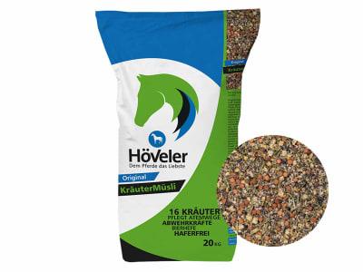 Höveler Kräutermüsli haferfreies und staubfreies Pferdefutter mit Kräutermischung 20 kg Sack