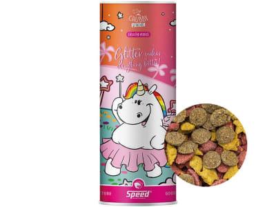 SPEED GOODIETUBE Glitter makes everything better fruchtiger, schmackhafter Mini-Leckerlimix für Pferde in den Geschmacksrichtungen Mango, Rote Beete und Apfel 800 g Dose