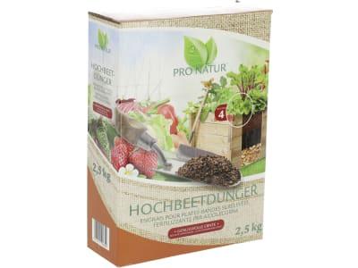 PRO NATUR® HOCHBEETDÜNGER organisch-mineralischer NPK 7+4+7 Langzeitdünger für Hochbeetpflanzen 2,5 kg Karton