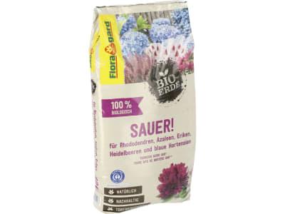 Floragard® Bio-Erde Sauer für Rhododendren, Azaleen, Heidelbeeren, Eriken und blaue Hortensien 40 l Sack