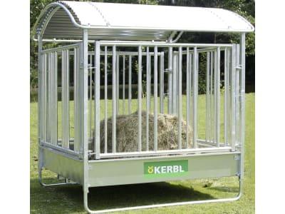 Kerbl Viereckraufe für Rund- und Rechteckballen bis 1,80 m Länge, mit Sicherheitsfressgitter, 12 Fressplätze, 291256