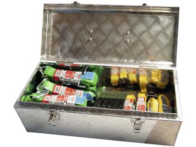 Zurrgurtset 17-teilig in Aluminium-Werkzeugbox