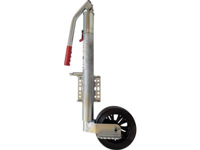 Stützrad Rundrohr außen 60 mm Stützlast 600 kg, Kunststoffrad 210 x 75 mm, hydraulische Betätigung