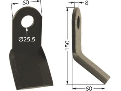 Sauerburger Schlegelmesser 150 x 60 x 8 mm 70402 für HGM–U und WM