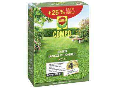 COMPO Rasen-Langzeitdünger Perfect kaliumreich, nitratfrei und phosphorarm für einen kräftigen Rasen auch bei Trockenheit und kälte für 150 m² 3,75 kg Karton