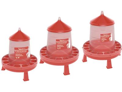 GALLUTEC Futterautomat rot mit Standfüßen und Aufhängung aus Kunststoff (lebensmittelecht)