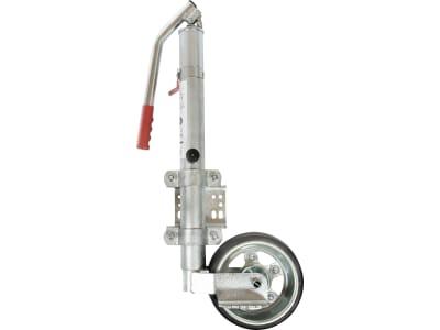 Stützrad Rundrohr außen 60 mm Stützlast 600 kg, Vollgummirad mit Metallfelge 230 x 80 mm, hydraulische Betätigung