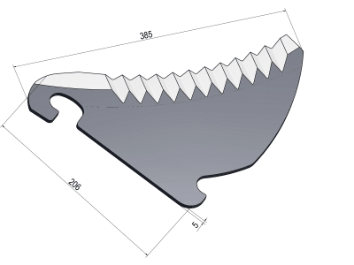 MWS Messer 385 x 206 x 5 mm für Claas Rundballenpresse