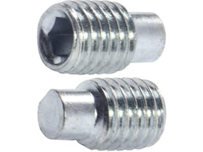 Madenschraube M 10 x 16 mm, Stahl, verzinkt; blau passiviert (A2K), Innensechskant, Zapfen, 025701016