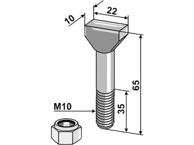 Industriehof® Hammerschraube M 10 x 65 - 8.8 mit Sicherungsmutter für Falc, Rau, 51-1065