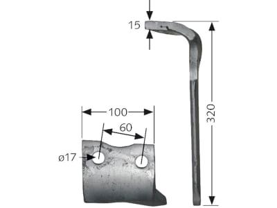 Howard Kreiseleggenzinken links/rechts, 300 x 15 mm für Kreiselegge HK30–HK40