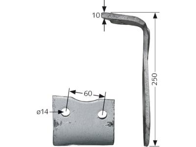 Howard Kreiseleggenzinken links/rechts, 250 x 10 mm für Kreiselegge HK10