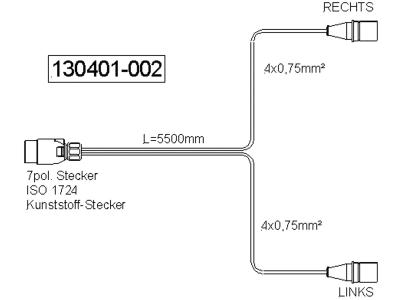 "Verlängerungskabel ""N-Typ"", 12 V, 7-polig, , ISO 1724 N-Typ"