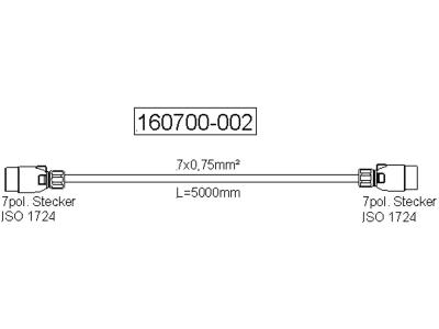 """Verlängerungskabel """"N-Typ"""", 12 V, 7-polig, mit zwei Steckern, ISO 1724 N-Typ"""