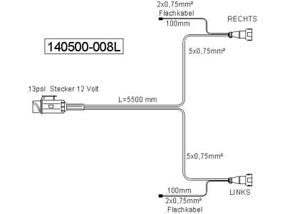Anschlusskabel Länge 5,5 m, 2 St. DC-Abgänge je 100 mm, Stecker 13-polig/Bajonett 5-polig, DIN ISO 11446, 12 V