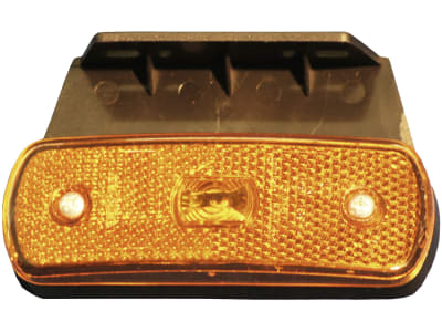 LED-Seitenmarkierungsleuchte oval, gelb, 104,3 x 36,3/63,2 x 20,5 mm, 12 – 24 V, mit Haltewinkel
