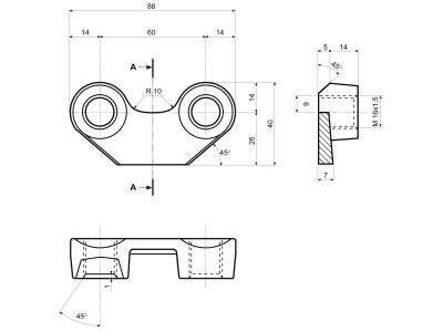 Bügelmutter M 16 x 1,5 Abstand Bohrungen 60 mm, für Maschio Kreislegge DM
