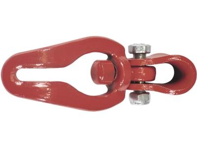 Seilgleitbügel mit drehbarer Öse, rot, für Rundstahlketten bis 8 mm