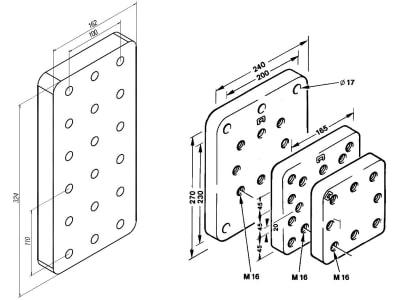Rockinger Anschraubplatte Außenmaß 200 x 200 x 40 mm