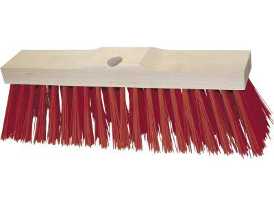 Kerbl Straßenbesen Elastan, rot, Rücken Holz, verstärkt, mit Bohrung