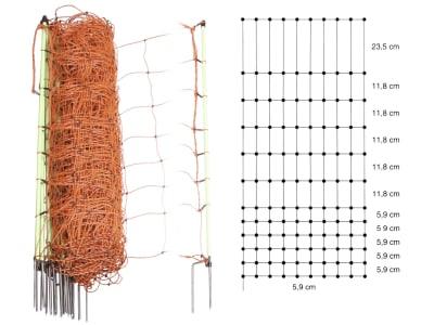 Patura Geflügelzaun 112 cm/50 m, orange, stromführend,  mit Doppelspitze, 111200