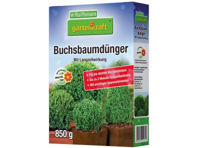 gartenkraft® Buchsbaumdünger mit Langzeitwirkung NPK 15+9.5+15 mit Langzeitwirkung für Buchsbäumen und -hecken 850 g Schachtel
