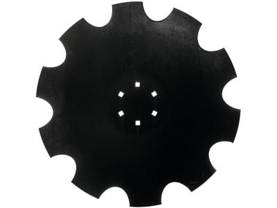 Eggenscheibe 510 x 5 mm, LK 100 mm, ZB Vierkant, 10 x 10 mm, gewölbt, gezahnt, für Kuhn
