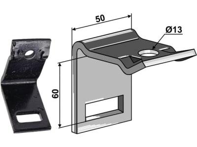 """Industriehof® Zinkenhalter """"D"""" 50 x 6 mm für Federzinken 32 x 10 mm, Passender Rahmen 50 x 50 mm, universal, 1.HH17-3113"""