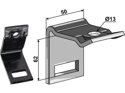 """Industriehof® Zinkenhalter """"D"""" 50 x 6 mm für Federzinken 32 x 12 mm, Passender Rahmen 50 x 50 mm, universal, 1.HH17-3115"""