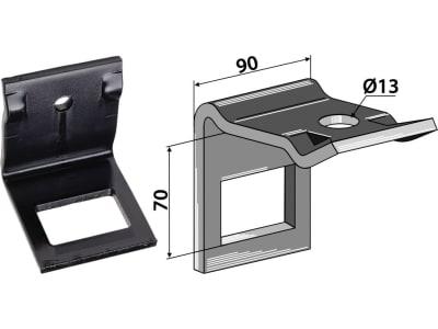"""Industriehof® Zinkenhalter """"D"""" 90 x 8 mm für Federzinken 60 x 12 mm, Passender Rahmen 60 x 60 mm, universal, 1.HH17-3935"""