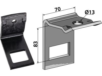 """Industriehof® Zinkenhalter """"D"""" 70 x 8 mm für Einböck, Passender Rahmen 60 x 60 mm, universal, 1.303503"""