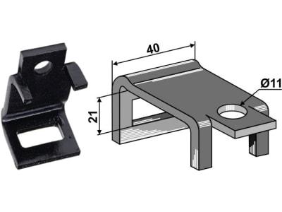 """Industriehof® Zinkenhalter """"B"""" 40 x 4 mm für Federzinken 26 x 10 mm, Passender Rahmen 40 x 10 mm, universal, 2.HH30-10"""