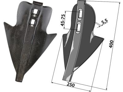 """Industriehof® Stoppelschar """"Donax"""" 250 x 45 – 75 mm für Rabe, Schönberger, 101.250-45-80"""
