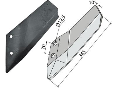Industriehof® Scharflügel links/rechts, 345 mm für Amazone/BBG Pegasus; Lemken Smaragd XL020/XL019, 337 4419/337 4418