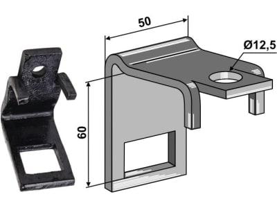 """Industriehof® Zinkenhalter """"B"""" 50 x 8 mm für Federzinken 32 x 10 mm, Passender Rahmen 50 x 50 mm, universal, 1.HH17-3013"""