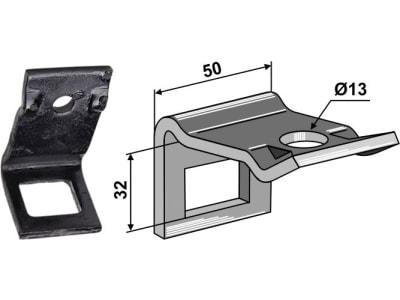 """Industriehof® Zinkenhalter """"D"""" 50 x 6 mm für Federzinken 32 x 10 mm mit Verstärkungsfeder 32 x 10 mm, Passender Rahmen 50 x 12 mm, universal, 1.HH17-3107"""