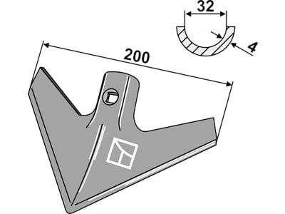 "Industriehof® Hackschar ""KH4"", Arbeitsbreite 200 mm, Stärke 4 mm, universal, 1.KH4"