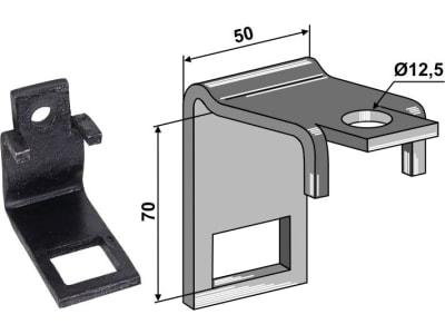 """Industriehof® Zinkenhalter """"B"""" 50 x 8 mm für Federzinken 32 x 10 mm mit Verstärkungsfeder 32 x 10 mm, Passender Rahmen 50 x 50 mm, universal, 1.HH17-3017"""