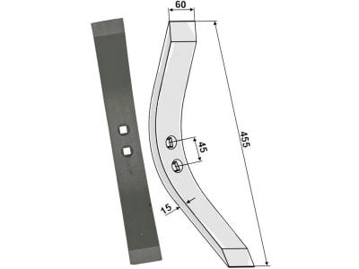 """Industriehof® Schmalschar 455 x 60 mm für Schwergrubberstiele, Lemken """"Achat"""", """"Tured"""", 101.LEM-03"""