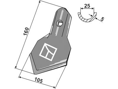 """Industriehof® Breitschar """"K45"""" Arbeitsbreite 105 mm Stärke 5 mm für Kultureggenzinken universal, 1.10.132-6"""
