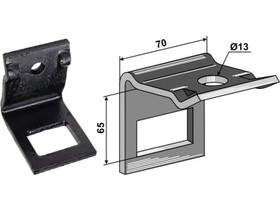 """Industriehof® Zinkenhalter """"D"""" 70 x 8 mm für Federzinken 45 x 12 mm, Passender Rahmen 50 x 50 mm, universal, 1.HH242-5050"""