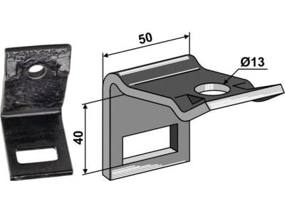 """Industriehof® Zinkenhalter """"D"""" 50 x 6 mm für Federzinken 32 x 12 mm, Passender Rahmen 50 x 30 mm, universal, 1.HH17-3123"""