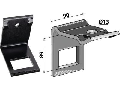 """Industriehof® Zinkenhalter """"D"""" 90 x 8 mm für Federzinken 60 x 10 mm, Passender Rahmen 80 x 80 mm, universal, 1.HH17-3930"""
