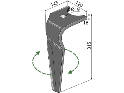 Industriehof® Kreiseleggenzinken links/rechts 120 x 315 x 16 mm, Bohrung 19 mm für Kuhn